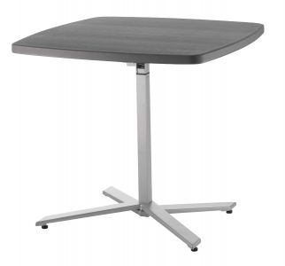 National Public Seating Cafe Time Series Height-Adjustable Slate & Silver Table