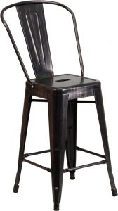 "HUSKY Seating® 500 LB Indoor-Outdoor Antique Black Gold Counter Height 24"" Metal Bar Stool"