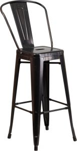 "HUSKY Seating® 500 LB Indoor-Outdoor Antique Black Gold 30"" Metal Restuarant Bar Stool"