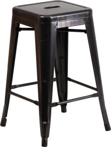 "HUSKY Seating® 500 LB Counter Height 24"" Indoor-Outdoor Stacking Antique Black Gold Metal Bar Stool with Square Seat"