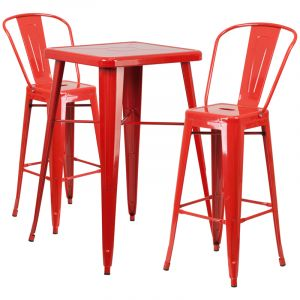 HUSKY Seating® Square Metal Indoor-Outdoor Bar Table & Bar Stool Set