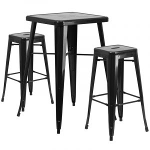 HUSKY Seating® Square Metal Indoor-Outdoor Bar Table & Backless Bar Stool Set