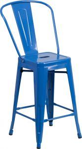 "HUSKY Seating® 500 LB Counter Height 24"" Indoor-Outdoor Metal Bar Stool"