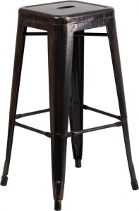 """HUSKY Seating® 500 LB Modern 30"""" Indoor-Outdoor Stacking Antique Black Gold Metal Bar Stool with Square Seat"""