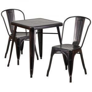 HUSKY Seating® Antique Black Gold Metal Indoor-Outdoor Restaurant Dining Set with 2 Chairs