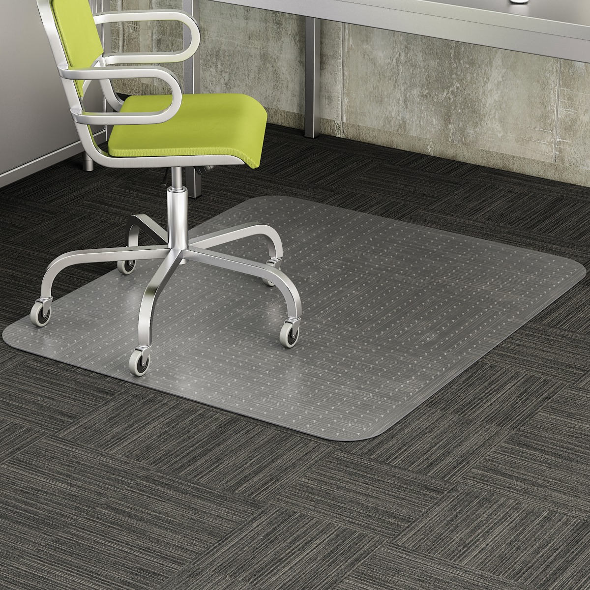 "Heavy Duty Low Pile Carpet Chair Mat with Beveled Edge, 46"" x 60"""