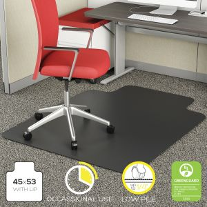 Light Duty Low Pile Carpet Chair Mat with Lip - Black