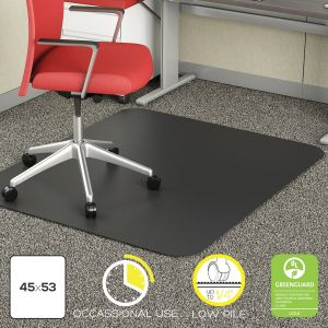 Light Duty Low Pile Carpet Chair Mat - Black