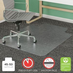 Heavy Duty Medium Pile Carpet Chair Mat with Beveled Edge & Lip
