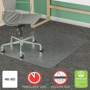 "Heavy Duty Medium Pile Carpet Chair Mat with Beveled Edge, 46"" x 60"""