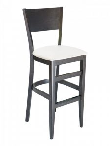 Florida Seating CON-01B Solid Back Walnut Restaurant Bar Stool