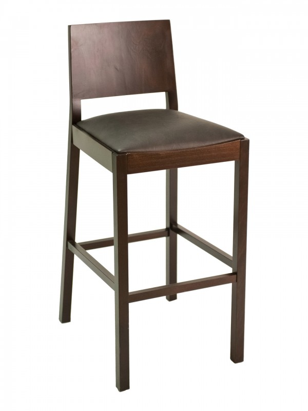Florida Seating CON-04B Solid Wood Back Restaurant Bar Stool