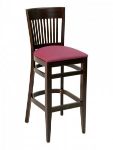 Florida Seating CON-915B Vertical Back Wood Restaurant Bar Stool