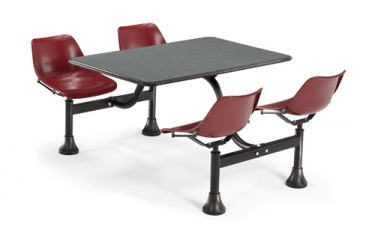 OFM Cluster Table with Gray Nebula Laminate Top & Maroon Chairs