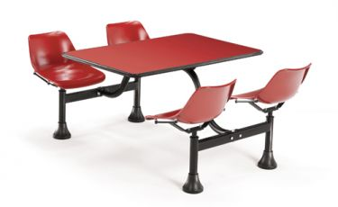 OFM Cluster Table with Red Laminate Top