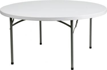 "Maxis 60"" Round Granite White Plastic Folding Table"