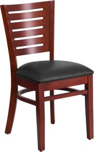 HUSKY Seating® Designer Back Wood 800 LB Restaurant Chair with Mahogany Finish & Vinyl Seat