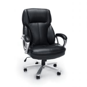Executive Essentials Big & Tall 400 lb Black Leather Office Chair with Padded Arms