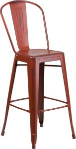 "HUSKY Seating® 500 LB Distressed Finish 30"" Indoor-Outdoor Metal Bar Stool"