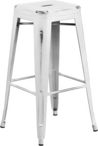 "HUSKY Seating® 500 LB Distressed 30"" Indoor-Outdoor Stacking Metal Bar Stool with Square Seat"