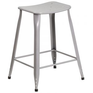 "Moderno Series Indoor Outdoor Metal 24"" Counter Height Stool"