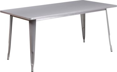 "HUSKY Seating® 31.5"" W X 63"" L Rectangular Metal Indoor-Outdoor Restaurant Table"