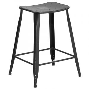 "HUSKY Seating® 352 LB 24"" H Distressed Metal Indoor-Outdoor Counter Height Bar Stool"