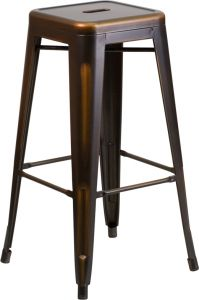 """HUSKY Seating® 500 LB Vintage Style 30"""" Indoor-Outdoor Stacking Distressed Copper Metal Bar Stool with Square Seat"""