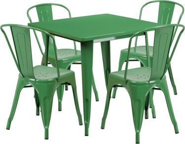 HUSKY Seating® Metal Indoor-Outdoor Square Restaurant Dining Set with 4 Stack Chairs