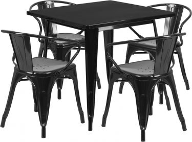 HUSKY Seating® Metal Indoor-Outdoor Square Restaurant Dining Set with 4 Arm Chairs