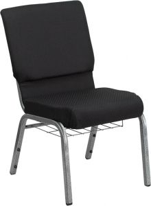HUSKY Seating® 800 LB Heavy Duty Black Fabric Auditorium Chair - Silver Vein & Communion Book Rack