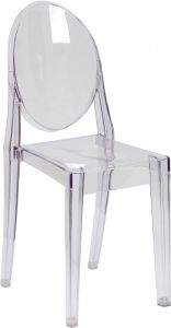 HUSKY Seating® Ghost 400 LB Transparent Indoor-Outdoor Stacking Event Chair