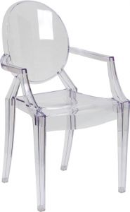 HUSKY Seating® Ghost 400 LB Transparent Indoor-Outdoor Stacking Event Chair with Arms