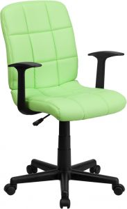 Colorful Mid-Back Quilted Task Chair with Arms