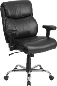 Heavy Duty 400 lb Big & Tall Black Leather Office Chair with Lumbar Support