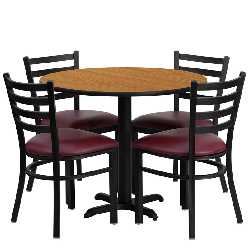 "HUSKY Seating® 36"" Round Laminate X-Base Table Set With 4 Burgundy Ladder Chairs"