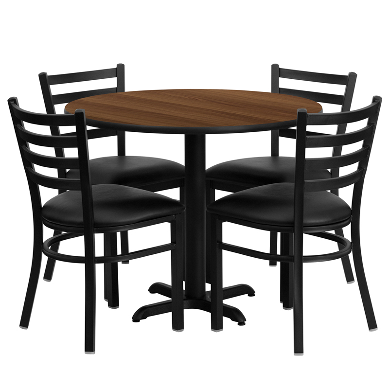 "HUSKY Seating® 36"" Round Laminate X-Base Table Set With 4 Black Ladder Chairs"