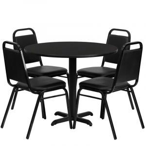 """HUSKY Seating® 36"""" Round Laminate X-Base Table Set With 4 Black Banquet Chairs"""