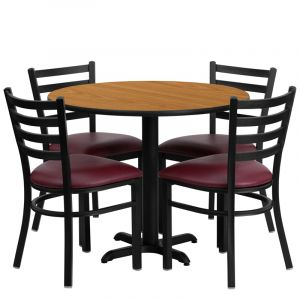 """HUSKY Seating® 36"""" Round Laminate X-Base Table Set With 4 Burgundy Ladder Chairs"""