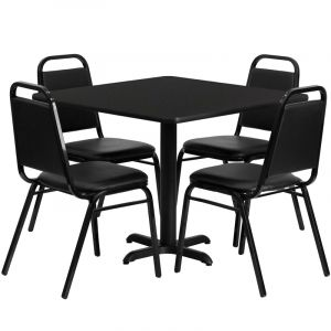 """HUSKY Seating® 36""""W x 36""""L Square Laminate X-Base Table Set With 4 Black Trapezoidal Chairs"""