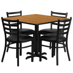 """HUSKY Seating® 36""""W x 36""""L Square Laminate X-Base Table Set With 4 Black Ladder Chairs"""