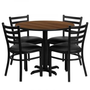 """HUSKY Seating® 36"""" Round Laminate X-Base Table Set With 4 Black Ladder Chairs"""