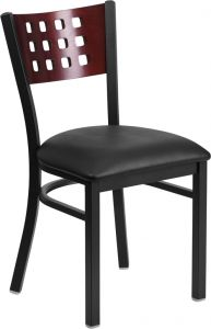 HUSKY Seating® Mahogany Wood Lattice Square Back 500 LB Restaurant Chair