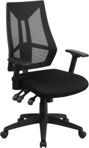 Contemporary High Back Black Mesh Task Chair with Triple Paddle Control