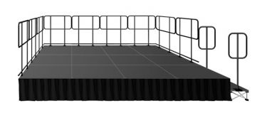 IntelliStage 12' x 16' Stage System Package with Guardrails, Steps, Skirting, & Carpet Surface - 192 sqft - Select Height