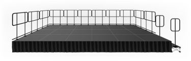 IntelliStage 12' x 24' Stage System Package with Guardrails, Steps, Skirting, & Carpet Surface - 288sqft - Select Height