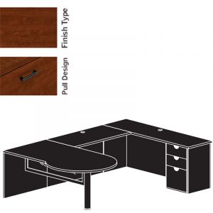 "Cherryman Jade Series U-Desk, 48"" Bridge, Single Pedestal, & Glass Modesty Panel - Left Configuration"