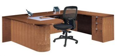 "Cherryman Jade Series Bullet Shape U-Desk, 48"" Bridge, Wood Panel Base"