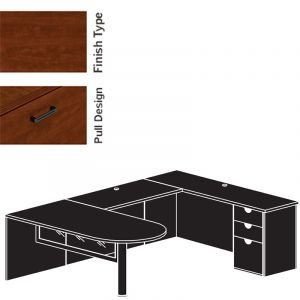 "Cherryman Jade Series Bullet Shape U-Desk, 42"" Bridge & Glass Modesty Panel"