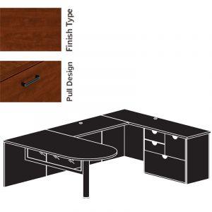 "Cherryman Jade Series Bullet Shape U-Desk, 42"" Bridge, Glass Modestly Panel, Multi-Storage Pedestal"